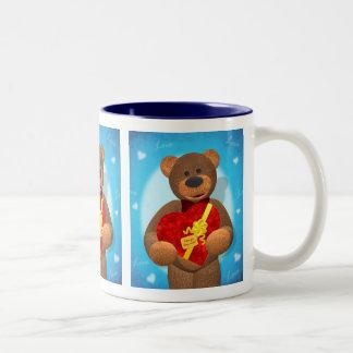 Dinky Bear with Heart Box Two-Tone Mug
