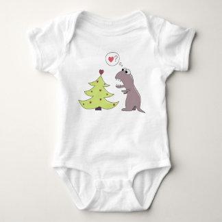 Dinosaur and Christmas Tree T Shirt