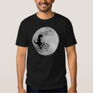 Dinosaur on a Bike In Sky With Moon T-shirt