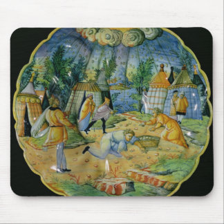Dish depicting the gathering of manna mouse pad