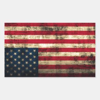 Distressed Grunge American Flag Rectangular Sticker