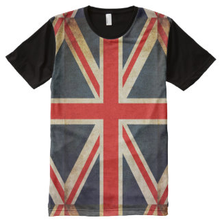 Distressed Grunge UK Flag Print T-Shirt All-Over Print T-Shirt