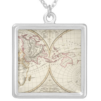 Distribution Map of Rivers and Mountains Square Pendant Necklace