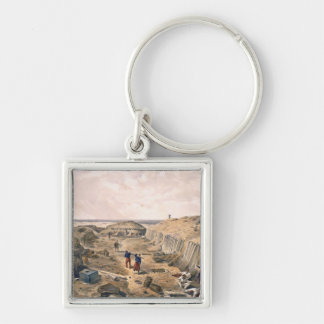 Ditch of the Bastion du Mat, plate from 'The Seat Silver-Colored Square Key Ring