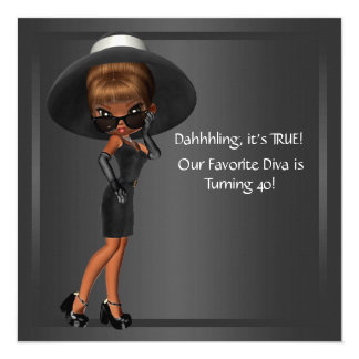 Diva Womans African American Birthday Party 13 Cm X 13 Cm Square Invitation Card