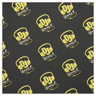 DJ headphones custom named yellow white fabric