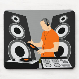 DJ Spinning Vinyl At Decks Mouse Pad