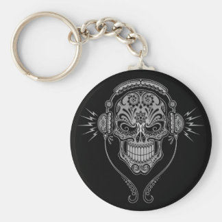 DJ Sugar Skull – Black Basic Round Button Key Ring