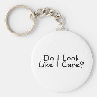 Do I Look Like I Care Basic Round Button Key Ring