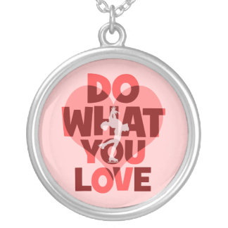 do what you love figure skating round pendant necklace