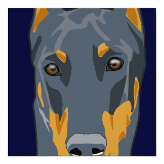 Doberman Head, Blue, Cropped 13 Cm X 13 Cm Square Invitation Card