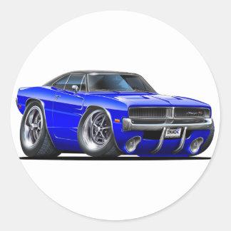 Dodge Charger Blue Car Round Sticker