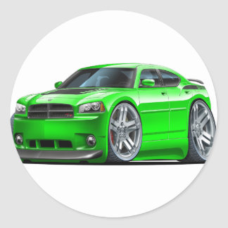 Dodge Charger Daytona Green Car Round Sticker