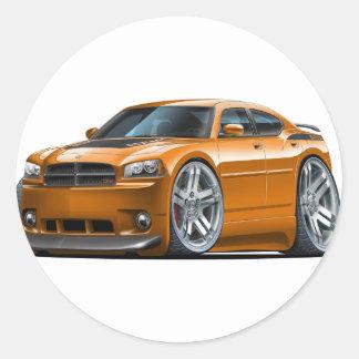 Dodge Charger Daytona Orange Car Round Sticker
