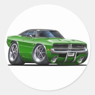Dodge Charger Green Car Round Sticker