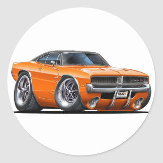 Dodge Charger Orange Car Round Sticker
