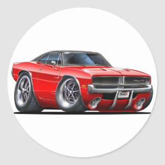 Dodge Charger Red Car Round Sticker