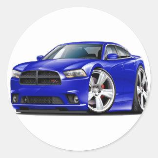 Dodge Charger RT Blue Car Round Sticker