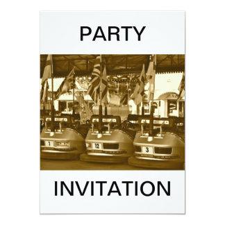 Dodgem Cars in Sepia Party Invitation