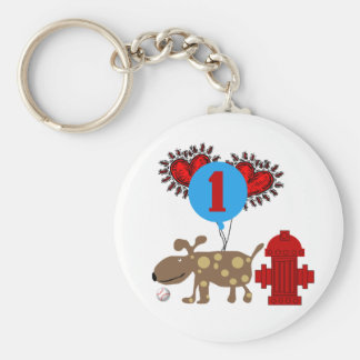 Dog 1st Birthday T shirts and Gifts Basic Round Button Key Ring