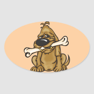Dog and His Bone Oval Sticker