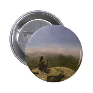 Dog and Woman on a Rocky Bluff 6 Cm Round Badge