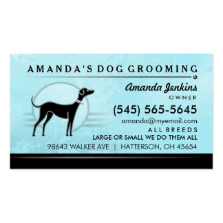Dog Groomer Brilliant Blue & Black Business Card
