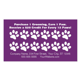 Dog Grooming Customer Loyalty Card Pack Of Standard Business Cards