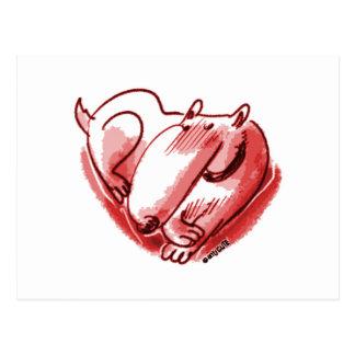 dog heart red postcard