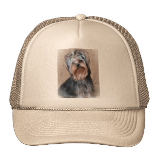 Dog on textile background cap