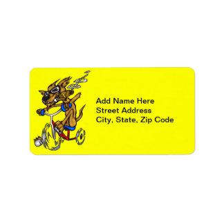 Dog Riding Bike Address Label