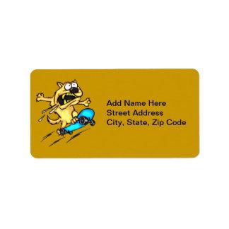 Dog Riding Skateboard Address Label