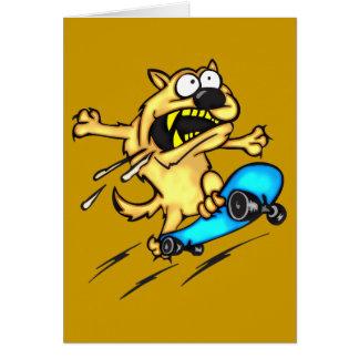 Dog Riding Skateboard Greeting Card