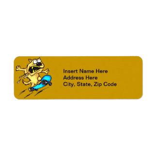 Dog Riding Skateboard Return Address Label