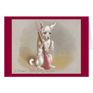 Dog with Rifle Victorian Christmas Greeting Card
