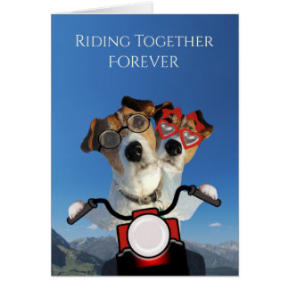 Dogs Ride on a Motorcycle for Wedding Announcement Greeting Card