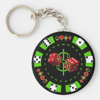 DOLLARS AND DICE POKER CHIP BASIC ROUND BUTTON KEY RING