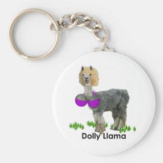 Dolly Llama Basic Round Button Key Ring