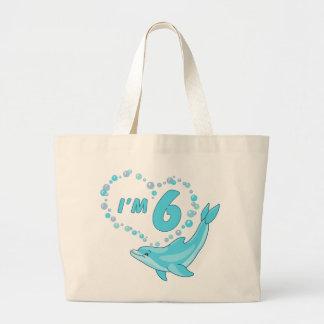 Dolphin Heart 6th Birthday Jumbo Tote Bag
