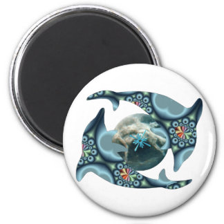 Dolphins at Dione 6 Cm Round Magnet