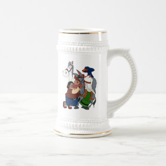 DON QUIXOTE' s FRIENDS - 400 years -Cervantes taza Beer Steins