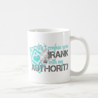 Don't Confuse Your Rank With My Authority Basic White Mug
