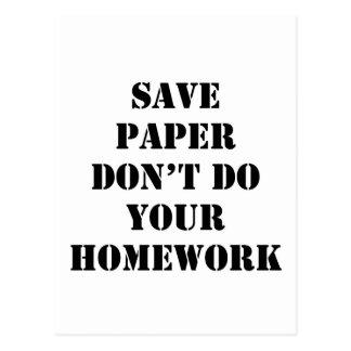 Don't Do Your Homework Postcard