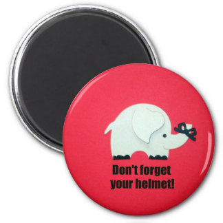 Don't forget your helmet! 6 cm round magnet
