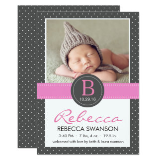 Dotted Black Double Sided Birth Announcements