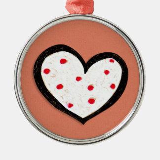 Dotty Hearts kraft red Premium Round Ornament