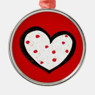 Dotty Hearts red Premium Round Ornament