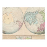 Double Hemisphere Map of the World Postcard