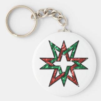 double pentagram pentagon basic round button key ring