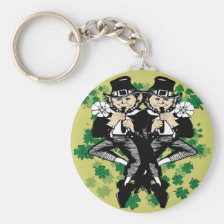 Double The Luck Leprechaun Basic Round Button Key Ring